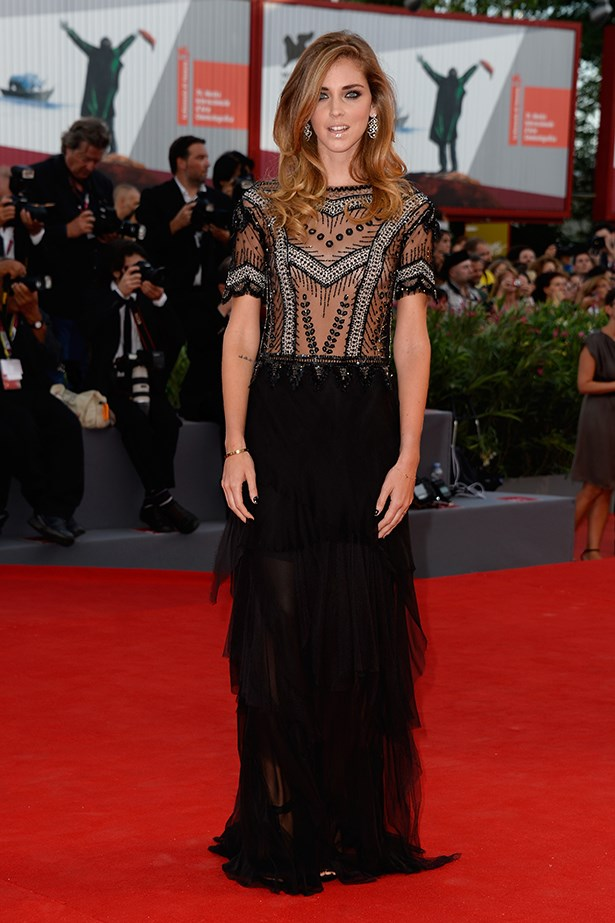 Model, blogger and designer Chiara Ferragni opted for a tulle embellished Alberta Ferretti AW13 dress to the premiere of <em>Gravity</em>.