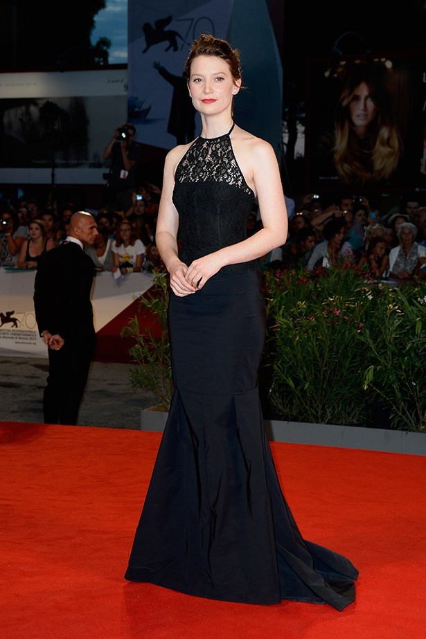 Mia Wasikowska wore an elegant Nina Ricci lace halter-neck gown to the <em>Tracks</em> premiere.