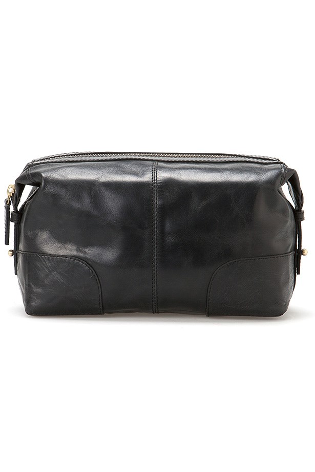 "<strong>Wetpack, $99.95, Country Road, <a href=""http://www.countryroad.com.au"">countryroad.com.au </a> </strong> <em>And somewhere to store it all. The leather softens as it ages (kind of like him). </em>"
