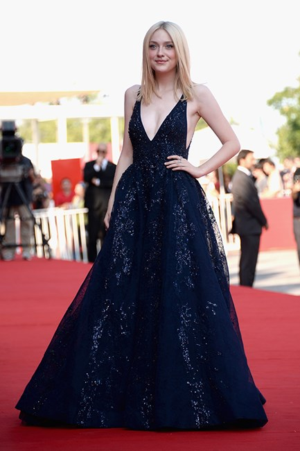Dakota Fanning stole the show in a navy Elie Saab Couture AW13 dress.
