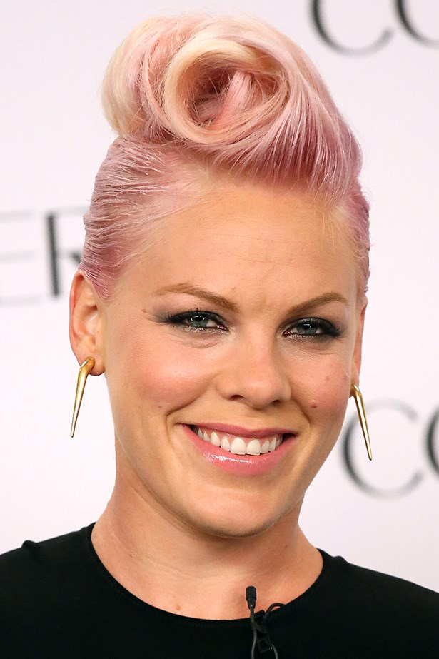 Pink's coloured do is styled into a Mohawk curl while announcing her new project with Covergirl in 2012.