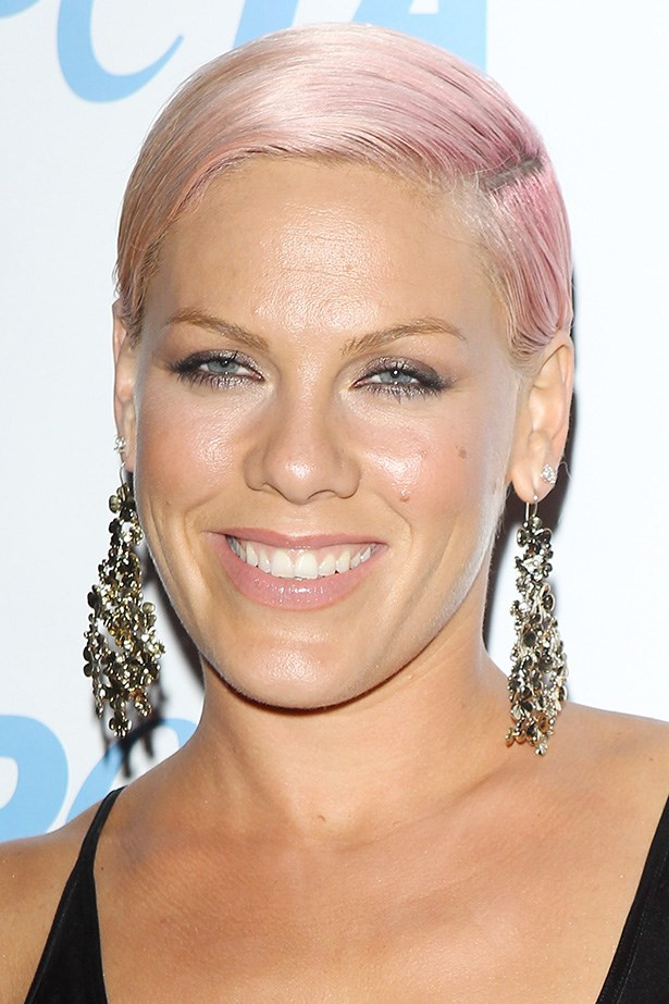 At the 2012 PETA 'Stand Up For Animals' benefit Pink's pale pink tresses are fashioned into a deep side part.