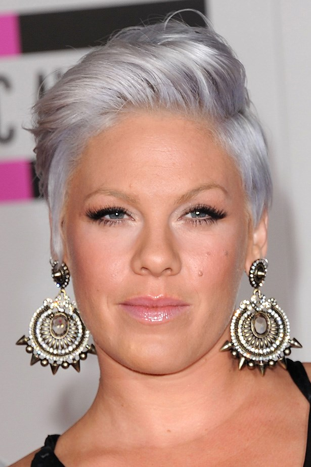 Pink's locks feature a violet hue at the 2012 American Music Awards in Los Angeles.