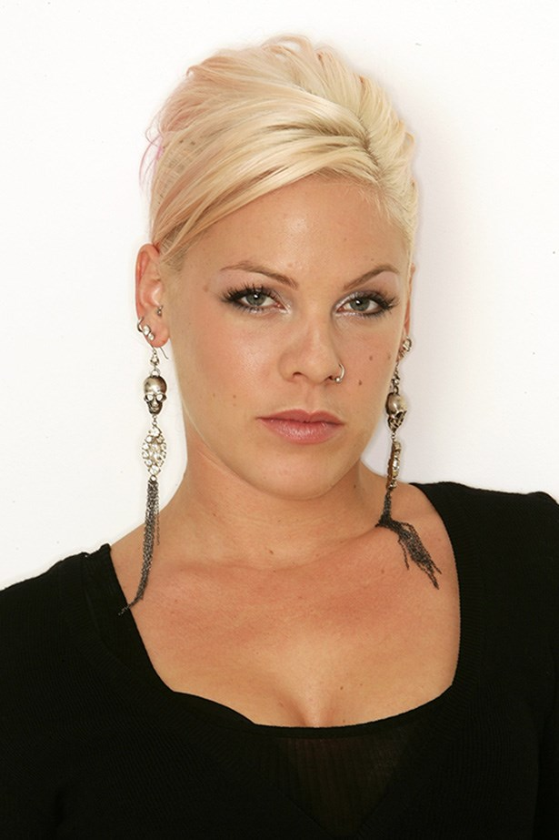 While promoting her new album in 2006, 'I'm Not Dead', Pink shows off her trademark, textured platinum do.