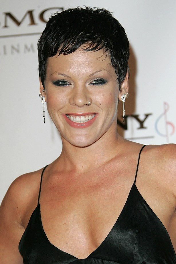 A raven haired Pink in 2008, goes smoky with blue rimmed eyes at the Sony/BMG Grammy After Party in Beverly Hills.