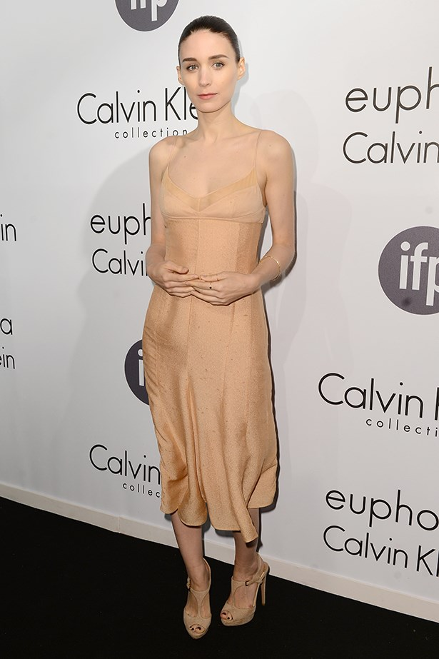 A pitch-perfect ambassador for the house, Mara chose a barely-there slip by Calvin Klein for the brand's 66th Cannes Film Festival party. Loving the effect of tonal shoes and a clean fresh face.