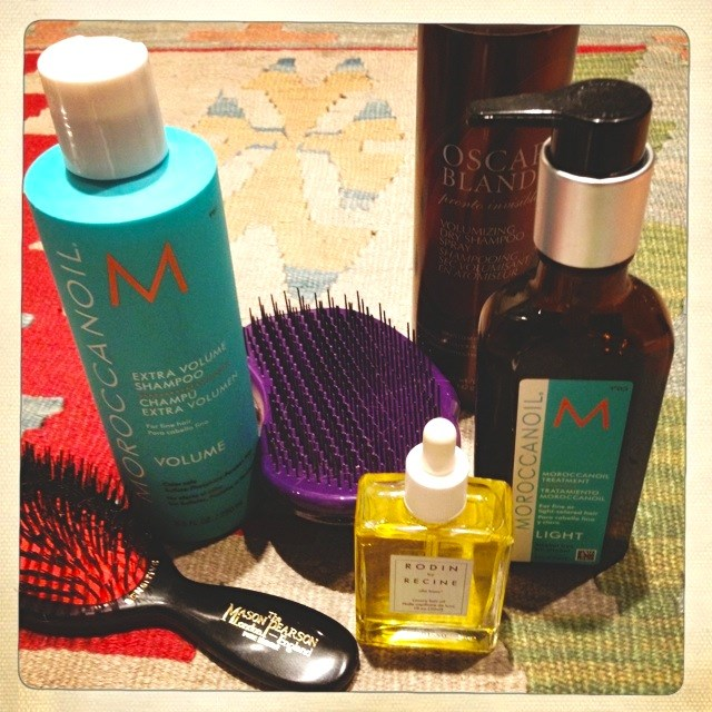 <p><strong>Hair</strong></p> <p><strong>Mason Pearson Hairbrush</strong> – tames my mane, and keeps it smooth, shiny and healthy. It's the best hairbrush in the world.</p> <p><strong>Moroccanoil Extra Volume Shampoo</strong> – gives me volume.</p> <p><strong>Tangle Teezer Hairbrush</strong> – detangles long, wet hair without pulling it.</p> <p><strong>Rodin by Recine Olio Lusso Luxury Hair Oil</strong> – Smells fantastic and leaves my hair feeling silky, never greasy.</p> <p><strong>Oscar Blandi Pronto Invisible Volumizing Dry Shampoo Spray</strong> – goes on clear, and makes my hair look and feel freshly shampooed.</p> <p><strong>Moroccanoil Treatment Light</strong> – keeps my hair frizz-free without weighing it down.</p>