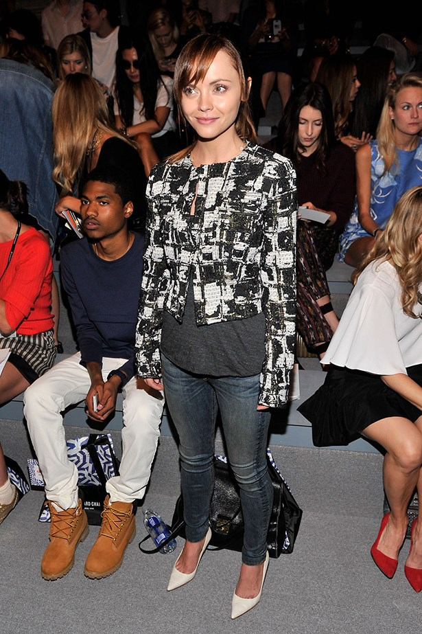 Christina Ricci went casual to Richard Chai's show and paired jeans with a houndstooth jacket.