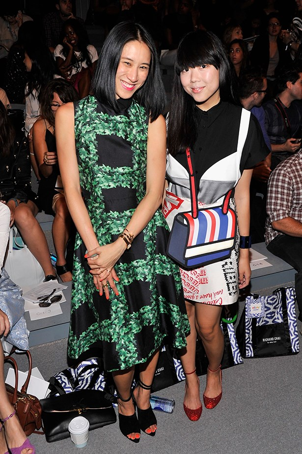 Eva Chen and blogger Susie Bubble make the perfect pair in the front row at Richard Chai. P.S Susie, if you're reading this your bag is tripping us out.