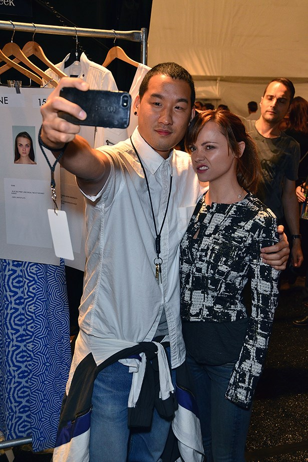 Richard Chai and Christina Ricci hanging backstage taking an obligatory NYFW selfie.