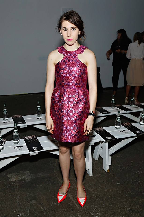 <em>GIRLS</em> star Zosia Mamet poses front row at Honor show, looking more like her character than ever before.