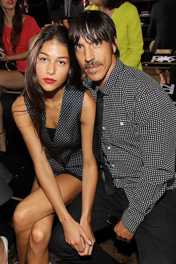 Anthony Kiedis and his girlfriend Helena Vestergaard attend the DKNY show together.