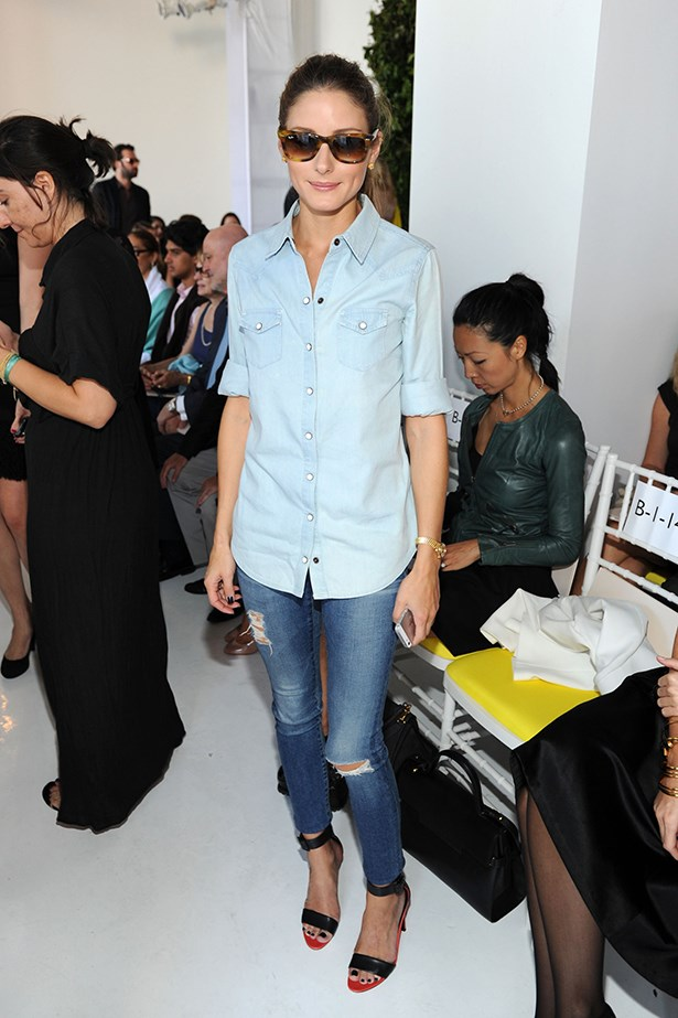 Olivia Palermo wore a double denim look to the Delpozo runway.