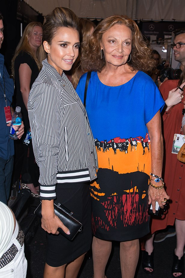 Jessica Alba and Diane Von Furstenberg pose together backstage at Diane Von Furstenberg's runway show.