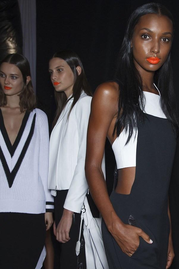 New York Fashion Week neon orange lips