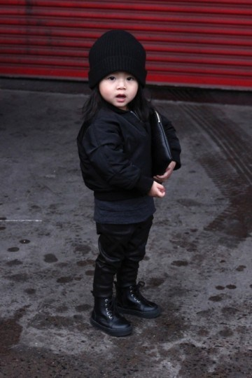 Aila demonstrates how to pull off leather pants and a bomber – just add hi-tops and a beanie.