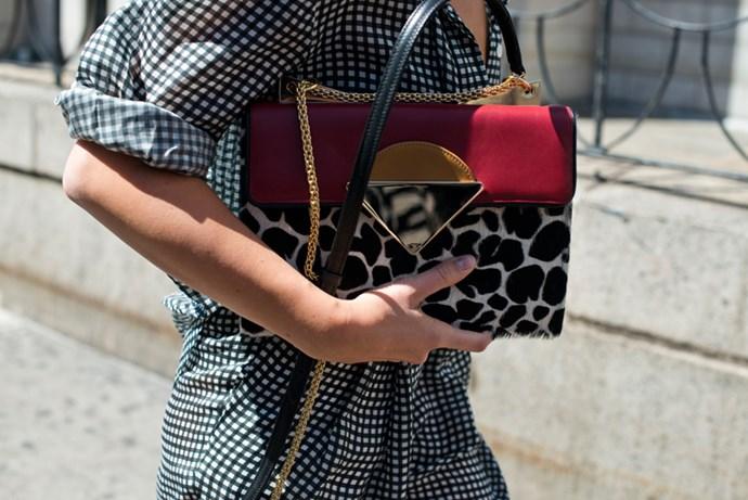 Leopard chain bag