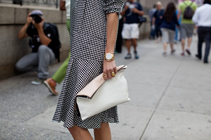 Chequerboard dress with a man style watch