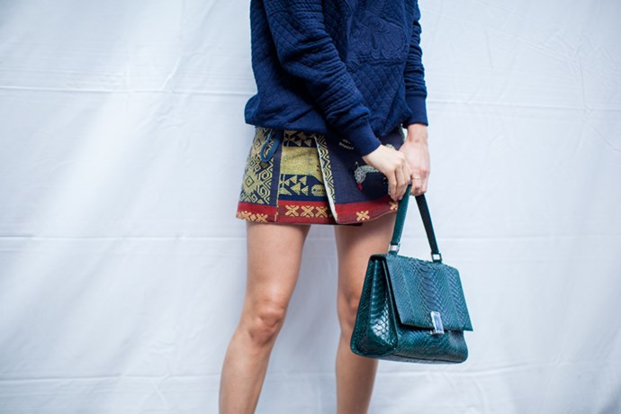 3.1 Phillip Lim jumper with Aztec style skirt