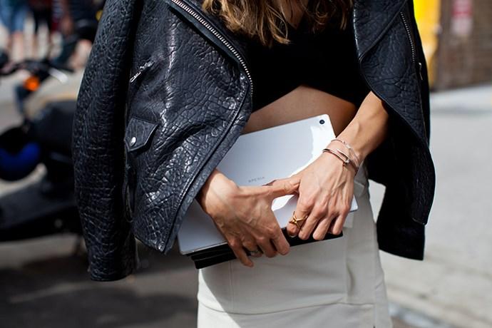 Cartier nail bracelet and Balenciaga crop-top