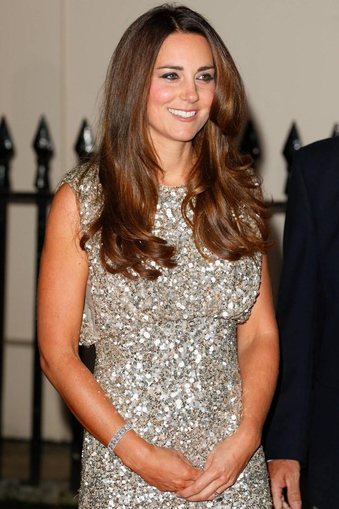 HRH Kate Middleton in silver Jenny Packham dress