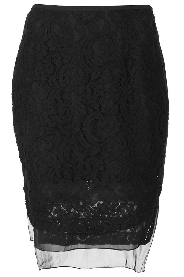"""Skirt, approx $68, Topshop, <a href=""""http://www.topshop.com"""">topshop.com</a>"""