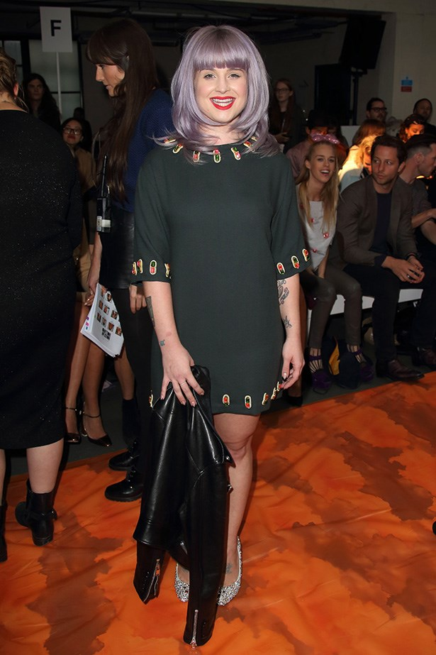 Kelly Osbourne: Kelly on arrival at the House of Holland show, where she sat alongside pals Nick Grimshaw and Harry Styles.