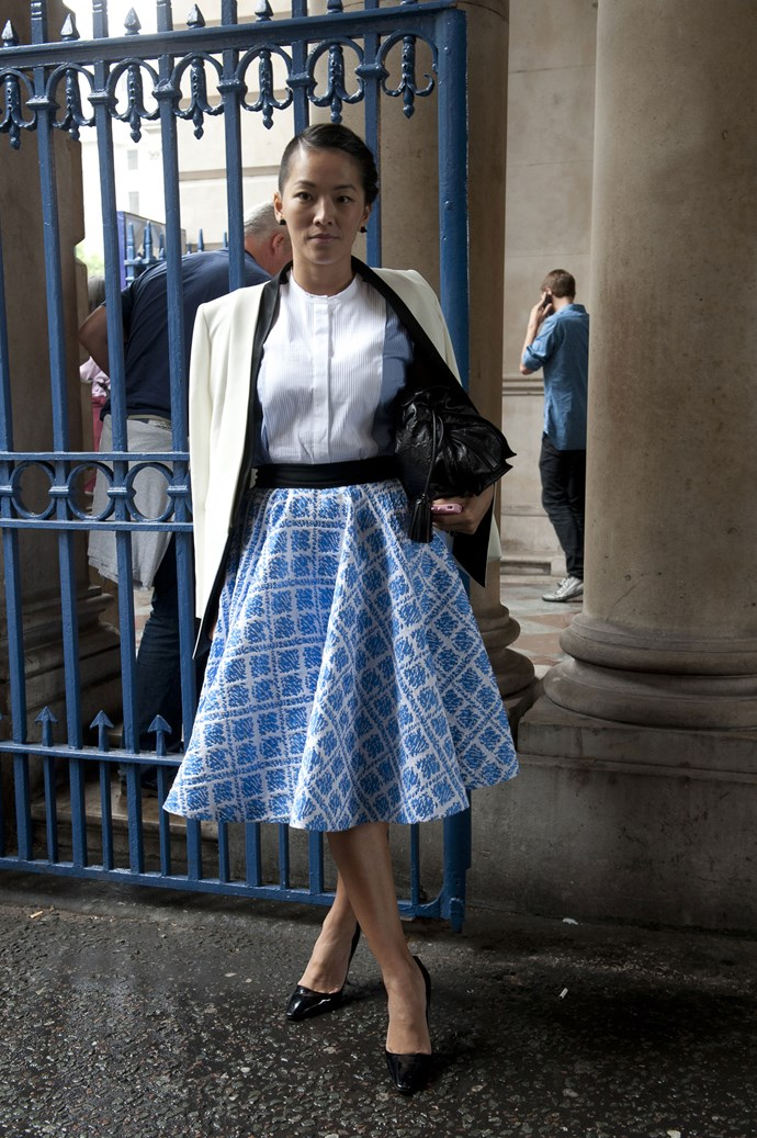 Team a voluminous skirt with colour-blocked power staples for a fresh take on office dressing.
