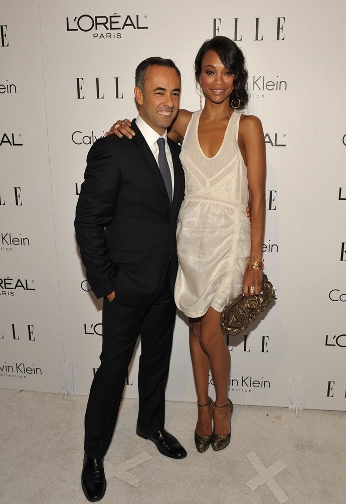 Costa and Calvin Klein Collection Spotlight Award recipient Zoe Saldana at the 16th Annual ELLE Women in Hollywood Tribute held in Beverly Hills in 2009.