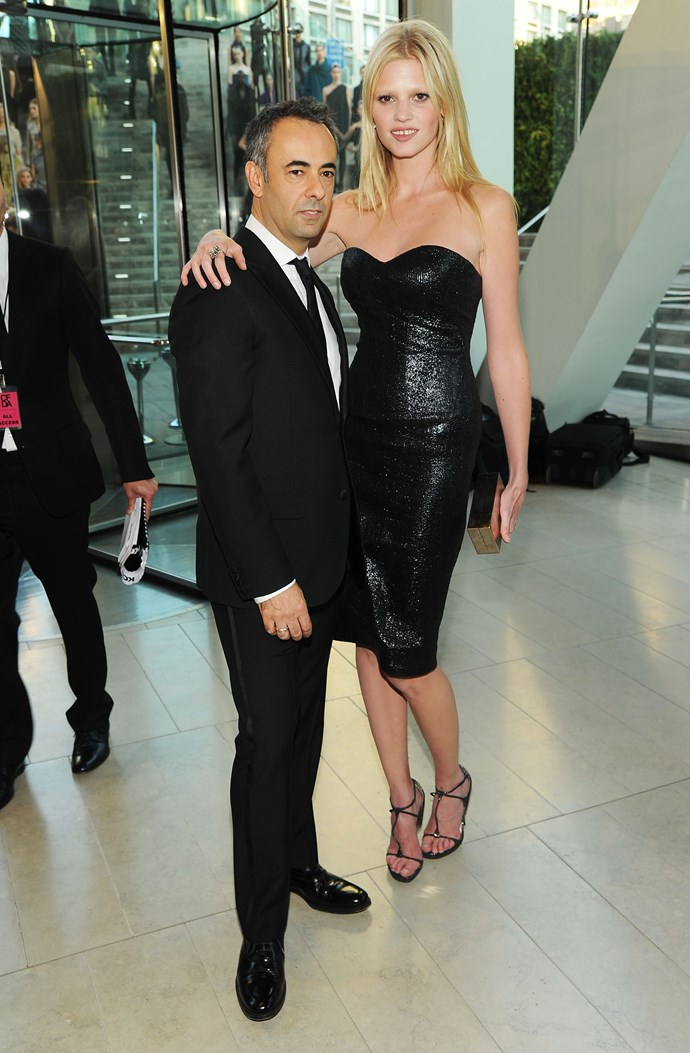 Costa and model Lara Stone attend the 2010 CFDA Fashion Awards in New York, 2010.