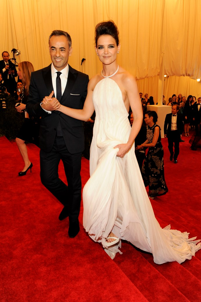 """Costa and Katie Holmes attends the Costume Institute Gala for the """"PUNK: Chaos to Couture"""" exhibition at the Metropolitan Museum of Art in New York, 2013."""