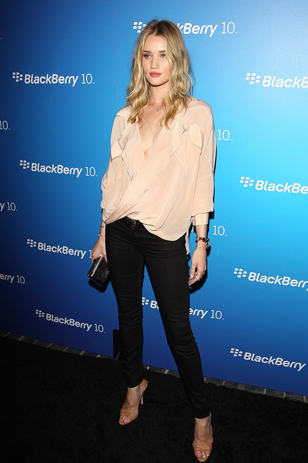 Understated and elegant, Rosie rocks black Mother Denim with a feminine blouse at the launch of Blackberry's Z10 Smartphone in Los Angeles.