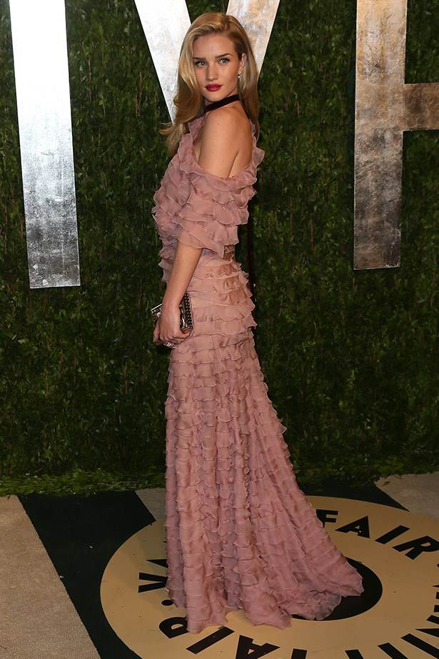 Looking every part the romantic, Rosie's olive skin was the perfect canvas for this blush ruffled Valentino gown at the 2013 Vanity Fair Oscar party at the Sunset Tower hotel in West Hollywood.