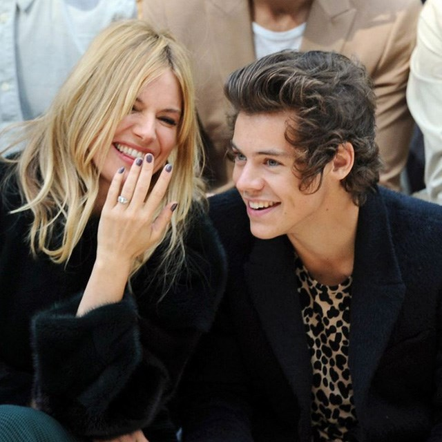 Styles shared a laugh with Sienna Miller – who was clearly enamoured with the <em>IDer</em> – as they sat front row at Burberry during London Fashion Week. Can you blame her?