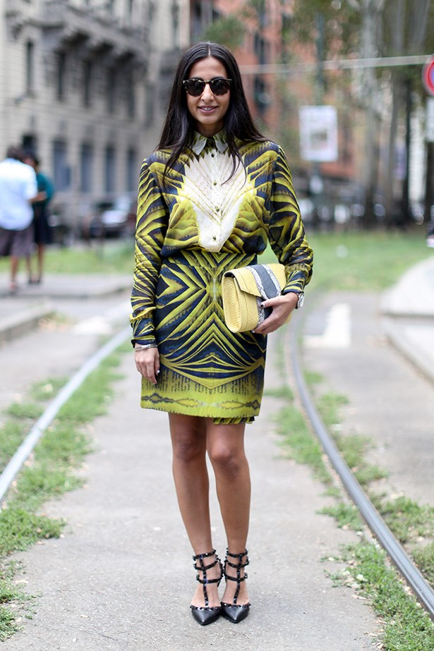 Don't be scared to wear studded heels (in this case, Valentino) with a neon outfit. Just tone down the make-up and let the outfit do the talking.