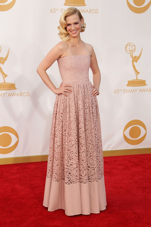 <p><strong>TREND: PALE AND INTERESTING</strong></p> <p>January Jones wore a blush-pink Givenchy dress teamed with Cartier earrings.</p>