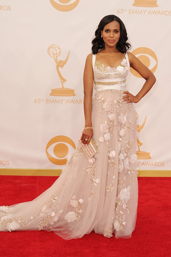 <p><strong>TREND: PALE AND INTERESTING</strong></p> <p>Kerry Washington looked elegant in a Marchesa gown.</p>