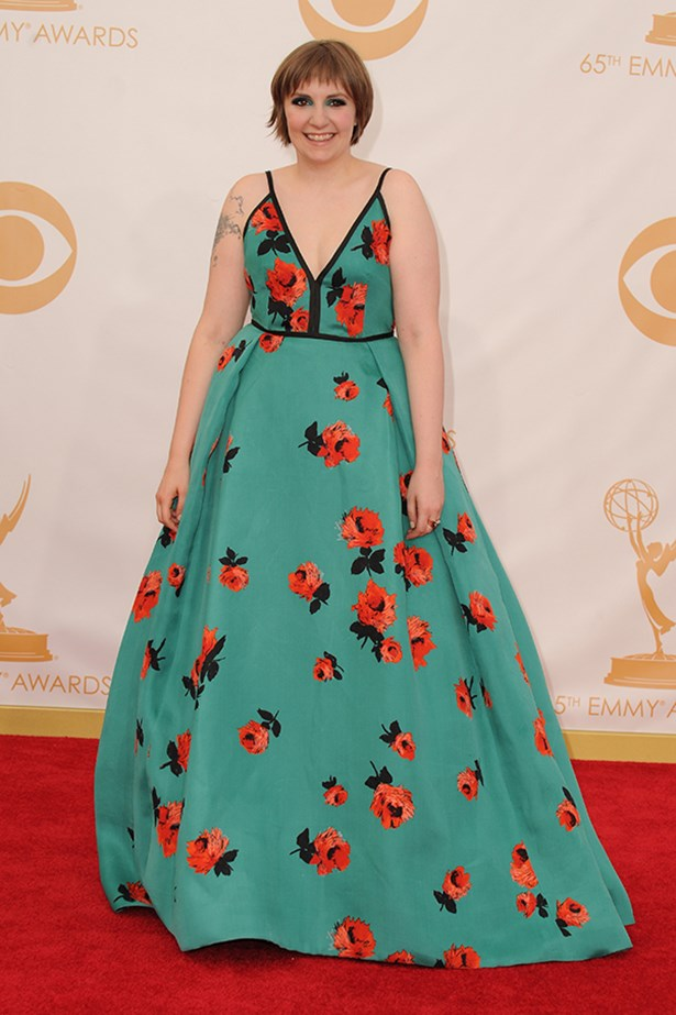 <p><strong>TREND: BRIGHT SPARKS</strong></p> <p>Lena Dunham hit the carpet in Prada.</p>