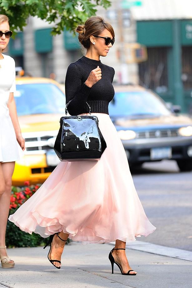Jessica Alba wearing a demure skirt
