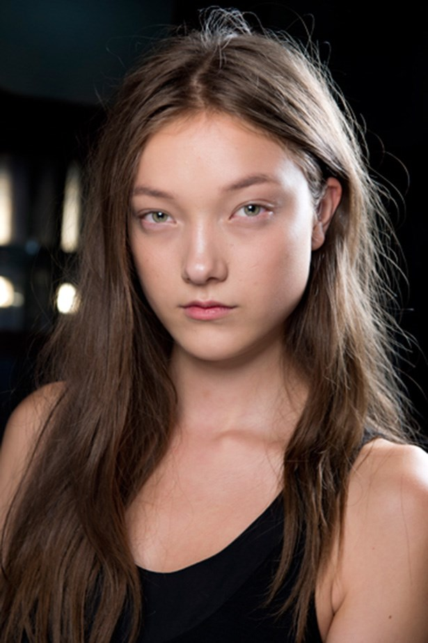 Hair parts were off centre and hair tussled at Christopher Kane's S/S14 collection.