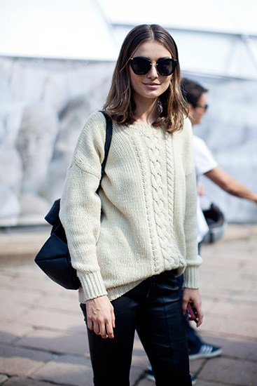 Miu Miu sunglasses and chunky knits are a staple in every model's wardrobe.