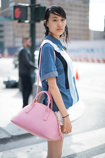 Phillip Lim's denim shirt is still a classic – don't forget the Miu Miu bag.