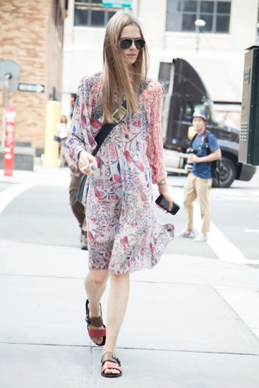 Go all Isabel Marant and pair paisley prints with tan sandals.