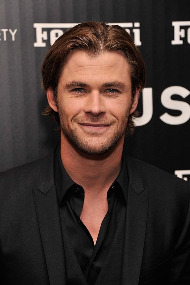 Alpha male Chris Hemsworth works the groomed stubble.