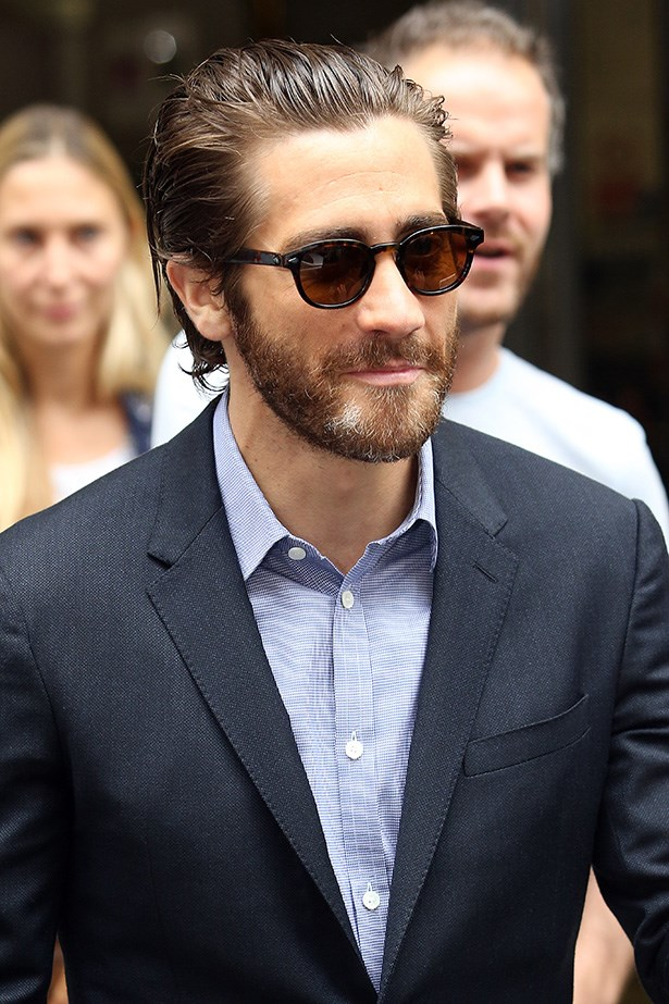 New to the bearded man club, Jake Gyllenhaal also looks ultra-masculine with facial fuzz.