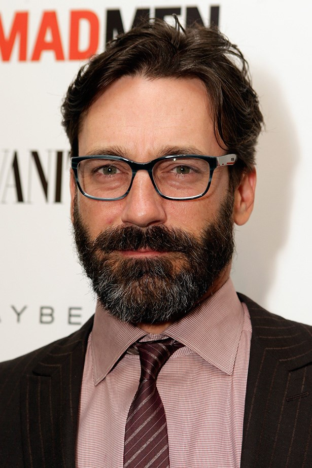 Off screen, Jon Hamm isn't as well-shaven as his <em>Mad Men</em> character Don Draper. He's well on his way to a bushman's beard.
