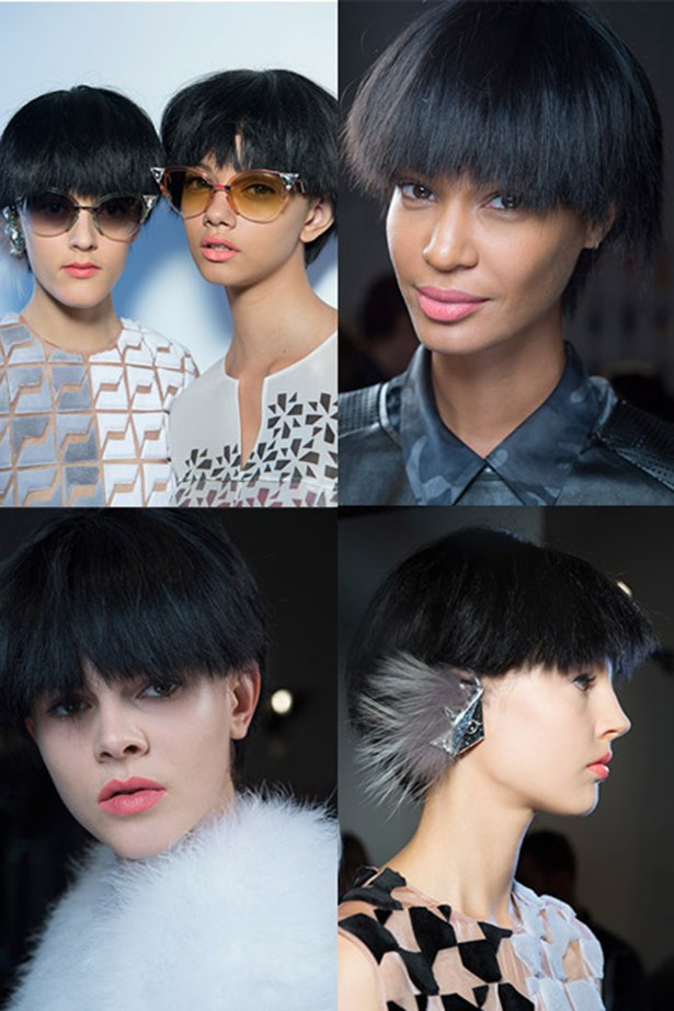 "<p>Spotted: Fendi spring/summer 2014</p> <p>The modern look: Hairstylist Sam McKnight put a bowl-cut wig on models and then trimmed a contemporary choppy ""hemline"" around the hair's circumference, giving this mod look some serious bod.</p>"