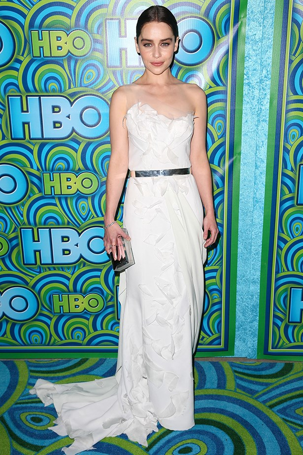 <p><strong>Emilia Clarke in Donna Karan Atelier</strong><p> <p>Emilia Clarke's classic sleeveless Donna Karan Atelier gown, which she wore to the Emmys, was given a contemporary twist with a silver-belt accent. Accessorising perfection for the modern bride. </p>