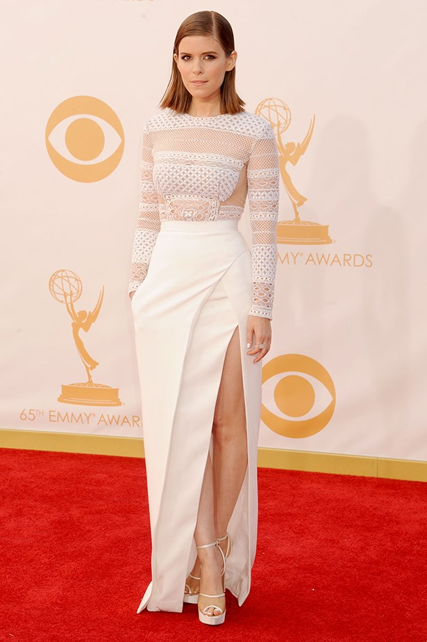 <p><strong>Kate Mara in J Mendel</strong></p> <p>Kate Mara in a J Mendel bodice and skirt, at the Emmys, was the <em>definition</em> of white-hot. Not to mention, how great would it be to wed in a two-piece ensemble that you could wear <em>again</em> as a whole outfit or as separates?</p>