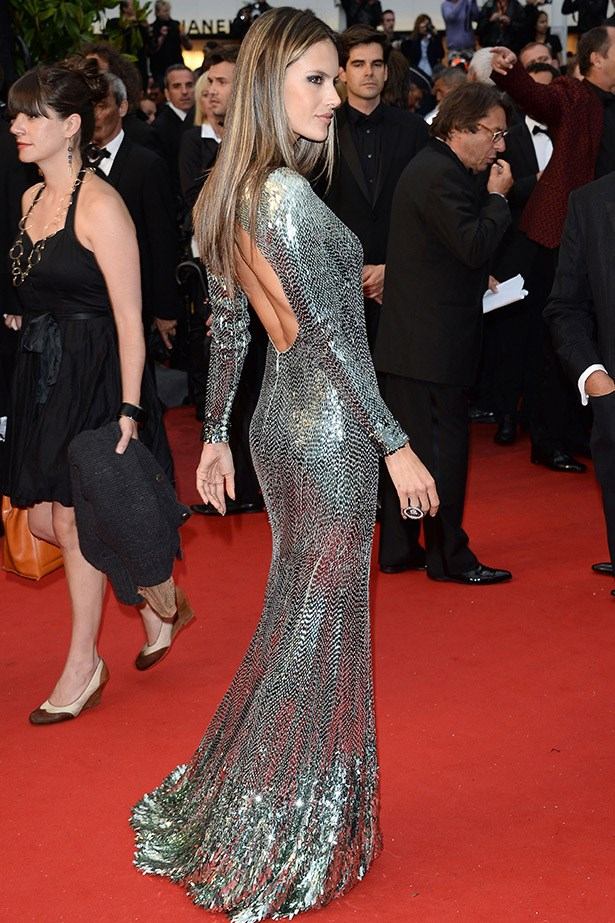 Shimmering in Roberto Cavalli on the red carpet in Cannes.